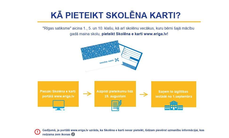 """Rīgas 1., 5. un 10. klašu skolēnu vecākus aicina pieteikties """"Skolēnu kartei"""" portālā www.eriga.lv"""